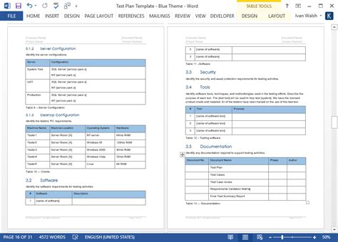 test plan template test plan ms word excel template