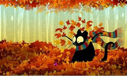 Fall Desktop Cat Wallpapers Leaves Windows Awesome