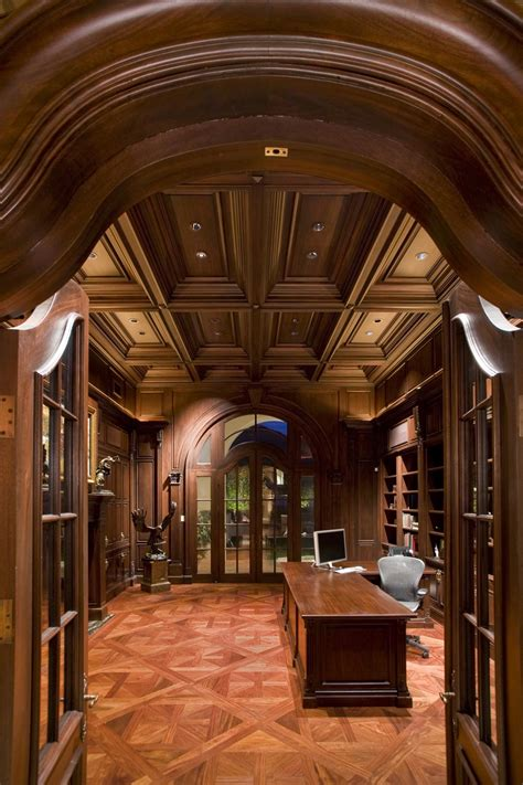coffered ceiling and rich woods create an extraordinary