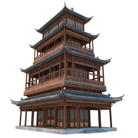 china house in ancient house 3d max