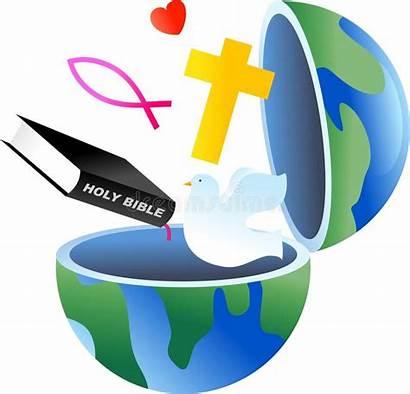 Christian Religious Symbols Clipart Globe Clip Cross