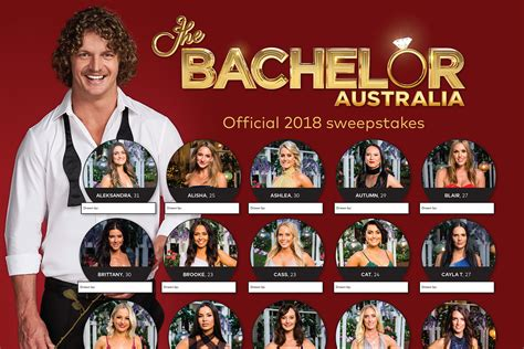 The Bachelor Australia 2018 Sweep: Download the Official