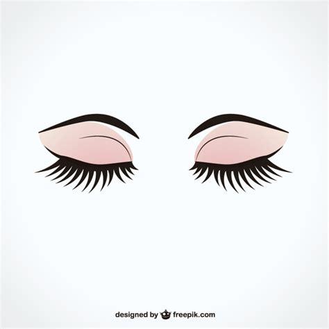 eyelash template closed with eyelashes vector free