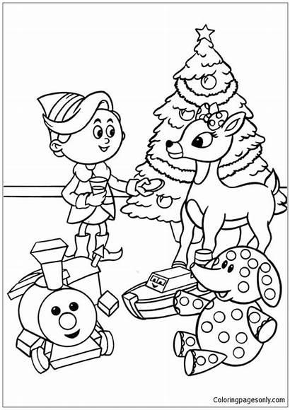 Rudolph Christmas Pages Children Coloring Printable Holidays