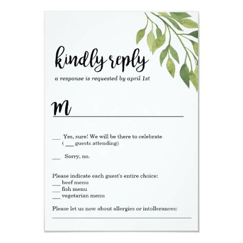 Greenery wedding invitation RSVP card botanical Zazzle com