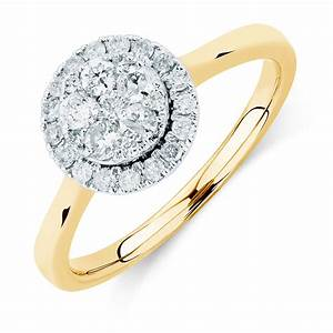 engagement ring with 1 2 carat tw of diamonds in 10ct With 2 in 1 wedding rings