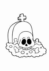 Ausmalbilder Totenkopf Auf Grabstein Halloween Zum