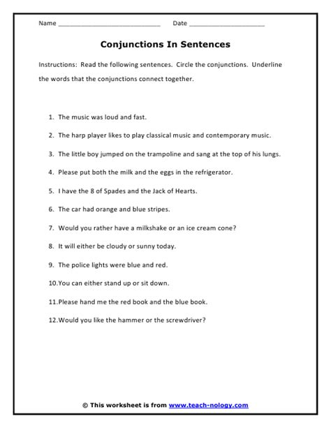 conjunction exercises for class 3 exercises