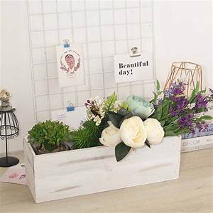 Efavormart, White, Rectangle, Wood, Boxes, Diy, Rustic, Wooden, Planter, Boxes, With, Plastic, Liner