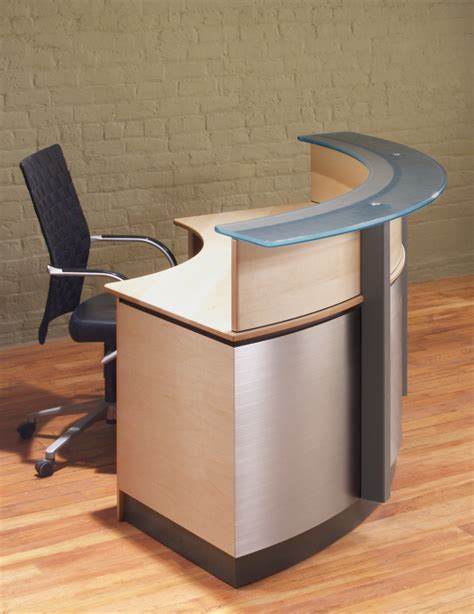 best tables for small spaces crescent modern reception desk stoneline designs
