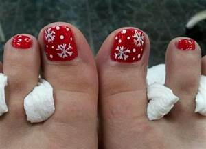 Red with white snowflakes toe nail art christmas rock