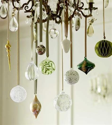 pretty ornaments hanging from chandelier