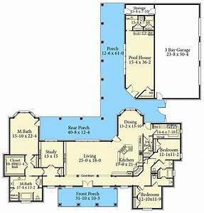 Southern, Country, Ranch, Home, Plan, With, Pool, House