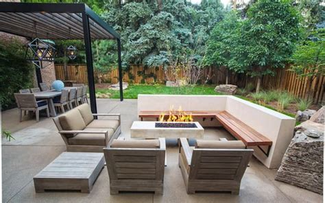 modern patio with corner patio bench and wooden sofa