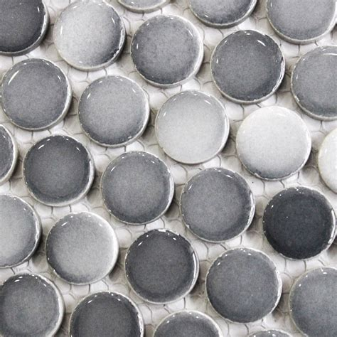 Gray penny round tile light grey gradient dark gray