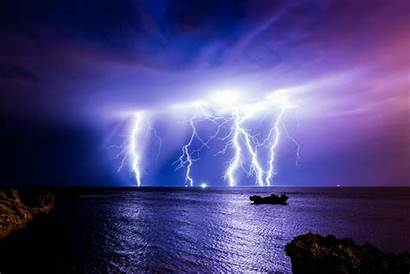 Storm Lightning Wallpapers Ocean Night Clouds Nature