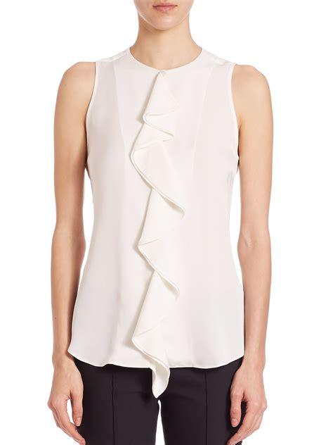 ruffled white blouse theory jastrid silk ruffle blouse in white lyst