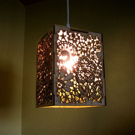 items similar to wood lace pendant light hanging l laser cut floral pattern doily lighting