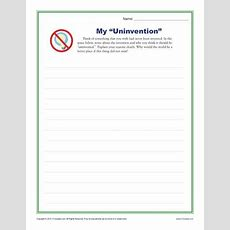 """My """"uninvention""""  Middle School Writing Prompt Worksheet"""