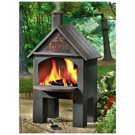 Fireplace Chiminea - modern cabin cooking chiminea outdoor fireplace grill
