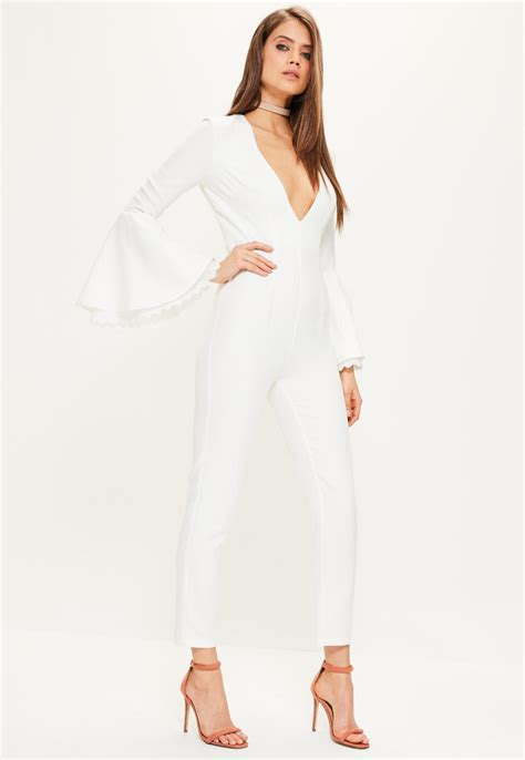 white sleeve jumpsuit white jumpsuit for chic fashion and practicality