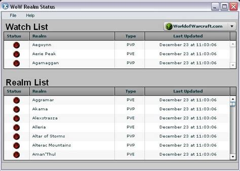 wow realm status wow tools utilities world