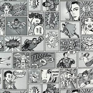 Comic Figuren Schwarz Weiß : dekostoff comic super hero schwarz weiss stoffe hemmers ~ Watch28wear.com Haus und Dekorationen