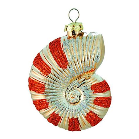 striped nautilus shell christmas ornament