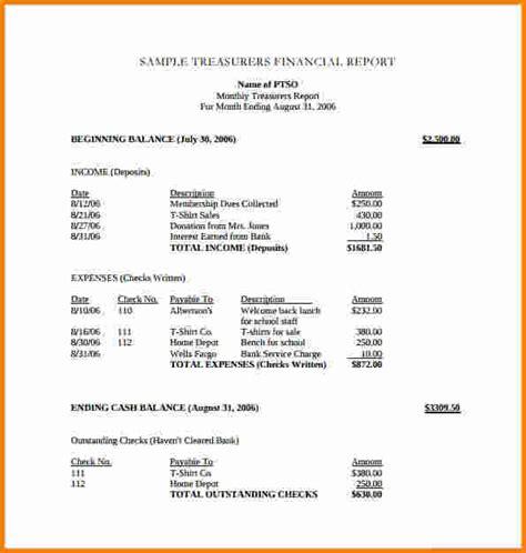 financial report template word 11 treasurer report template cashier resume