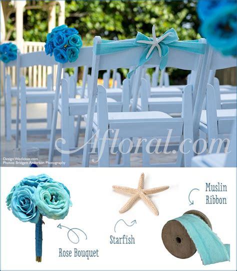 turquoise wedding aisle decor bright blue roses and