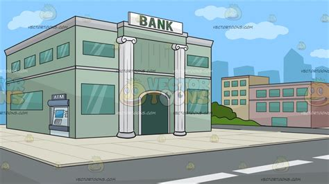 Outside A Bank Background  Clipart By Vector Toons