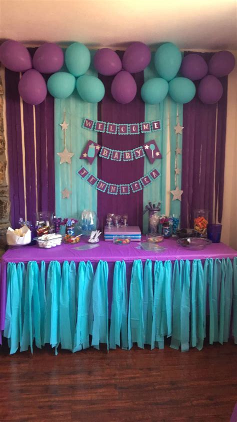 Purple And Teal Baby Shower Decorations by Baby Shower Banner Purple Turquoise
