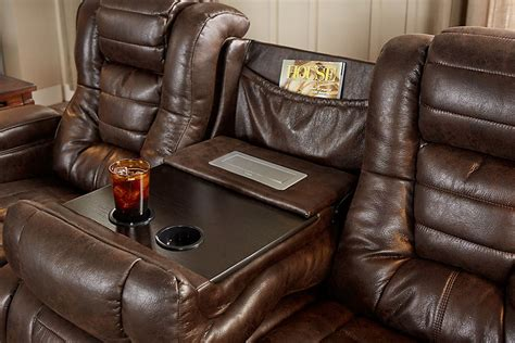 power reclining sofa with drop down table highway to home power reclining microfiber sofa with drop