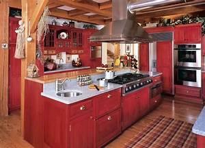 decoration cuisine bois et rouge With cuisine bois et rouge