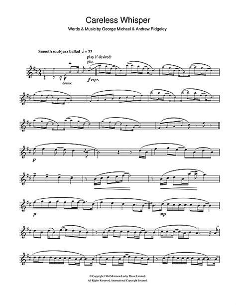 careless whisper sheet music by george michael alto