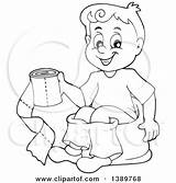 Potty Toilet Boy Cartoon Training Sitting Clipart Paper Chair Holding Vector Pages Royalty Lineart Toddler Illustration Clip Coloring Visekart Standing sketch template