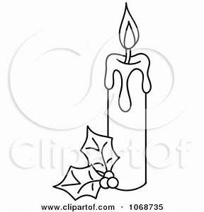 Clipart Outlind Christmas Candle And Holly - Royalty Free ...