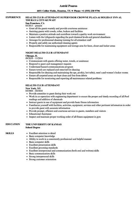 health club attendant resume samples velvet jobs