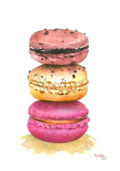 interior in kitchen macarons dessert food print watercolor painting by