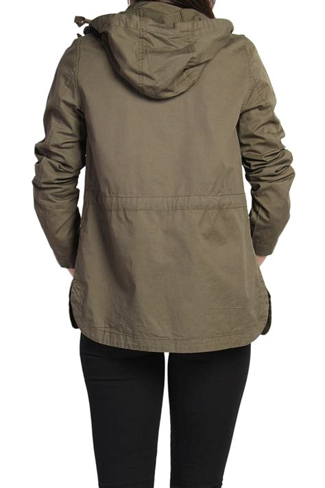drawstring waist hooded jacket themogan cotton twill drawstring waist hooded anorak