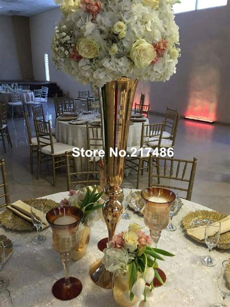 wholesale beautiful tall metal flower vase gold paited