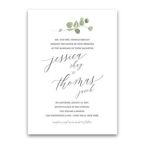 Calligraphy Wedding Invitations Greenery Eucalyptus Garland