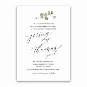 calligraphy wedding invitations greenery eucalyptus garland With wedding invitations with eucalyptus