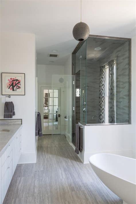 white  gray spa bathroom  globe pendant light hgtv