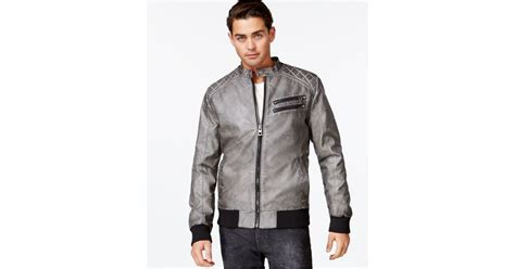 Guess Quilted Faux-leather Bomber Jacket In Gray For Men