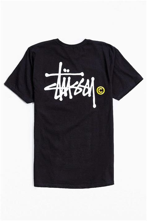 stussy sleeve t shirt with back logo black in black for lyst