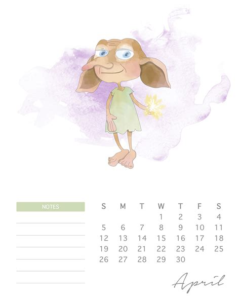 printable  watercolor harry potter calendar