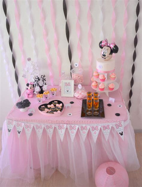 bapteme theme minnie rose  noir