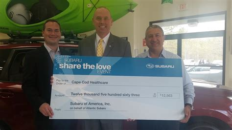 Cape Cod Healthcare Foundation Receives $, From Subaru