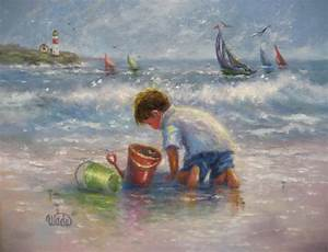Beach Boy Art Print beach paintings boy on beach beach